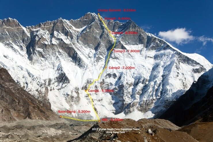 Hong Sung Taek, Lhotse South Face